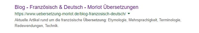 Snippet des Blogs Morlot Übersetzungen